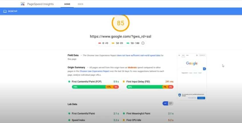 this image shows the google page insight tool part of on-page seo